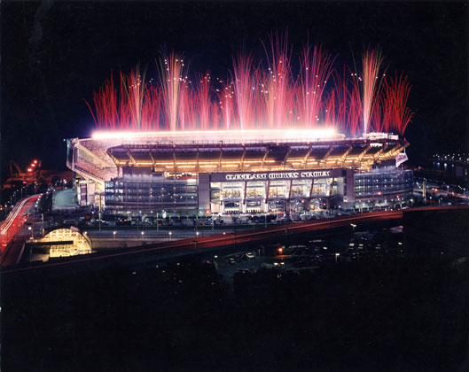 Cleveland Browns Stadium · Cleveland, Ohio · Magnificent opening night shot with fireworks