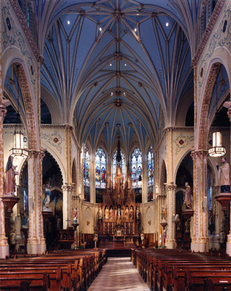 St. Anselm's  · Cleveland, Ohio · Interior View of Cathedral with mixed lighting