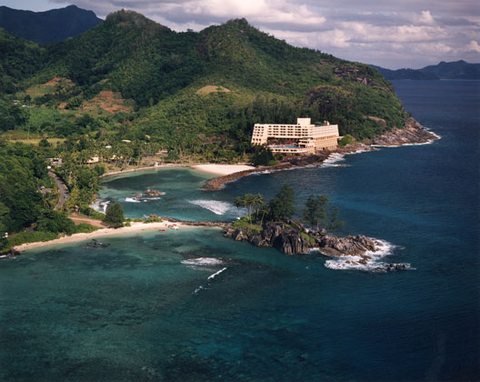 Berjeya Hotel  · Seychelles, Indian Ocean · Low altitude aerial view from Helicopter