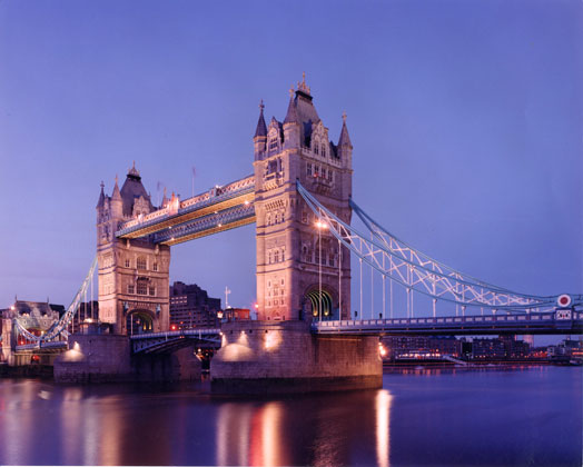 Tower of London Bridge · London, England · Tower of London Bridge at early dusk