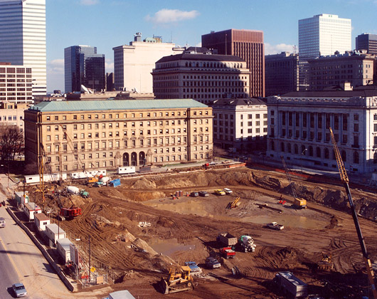 Mall B Parking Garage · Cleveland, Ohio · Progress view of excavation