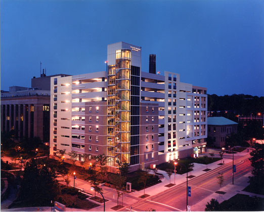 UH Babies & Children's Parking Garage · Cleveland, Ohio · High view of illuminated building at dusk