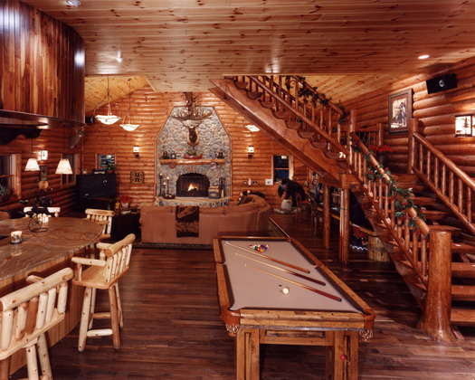 Log Cabin Home · Kirtland, Ohio · Interior view of game room and living room