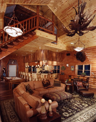 Log Cabin · Kirtland, Ohio · Interior view of game room and family room